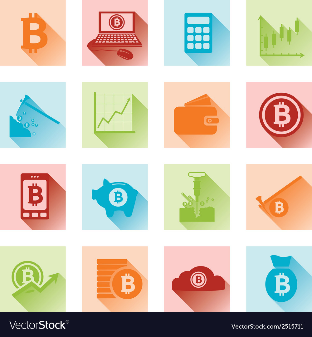 Bitcoin flat icons vector | Price: 1 Credit (USD $1)