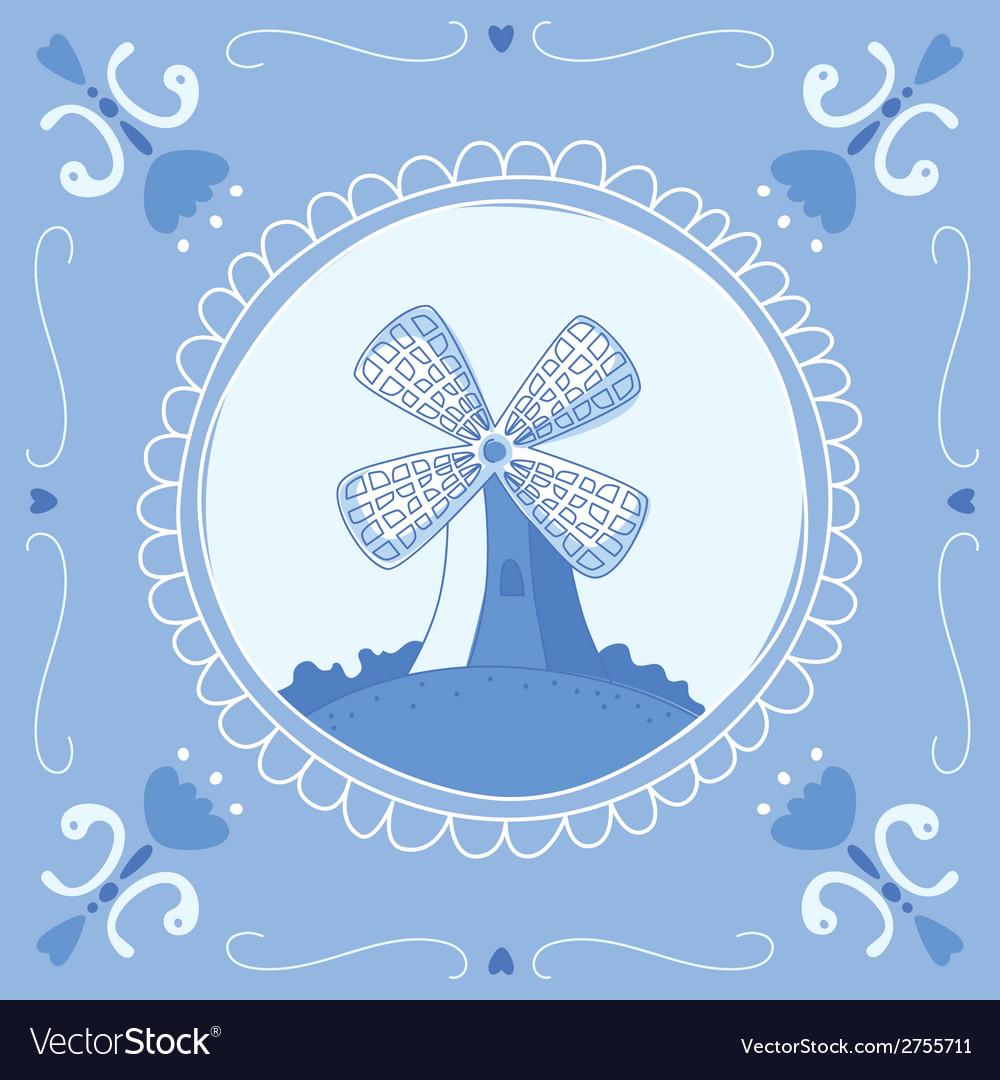 Delft blue mill vector | Price: 1 Credit (USD $1)