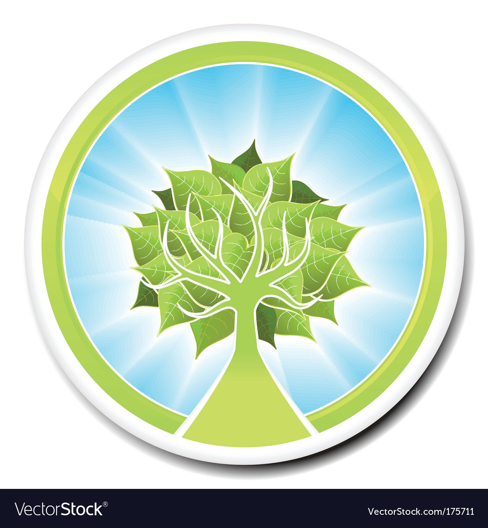 Ecological tree badge design vector | Price: 1 Credit (USD $1)