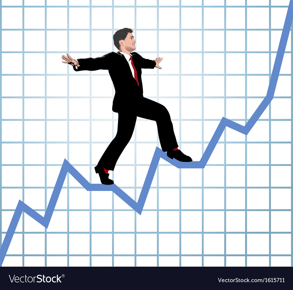 Entrepreneur climb start up chart vector | Price: 1 Credit (USD $1)