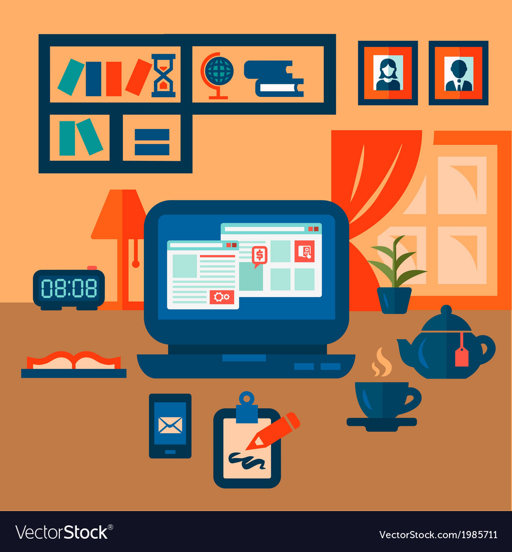 Flat concept of business workspace vector | Price: 1 Credit (USD $1)