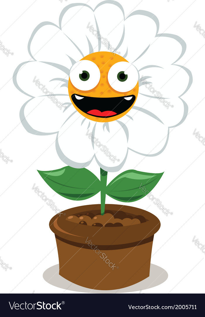 Funny daisy in a pot vector | Price: 1 Credit (USD $1)