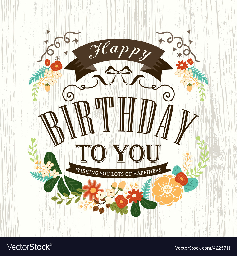 Happy birthday card design with flowers ribbon vector | Price: 1 Credit (USD $1)
