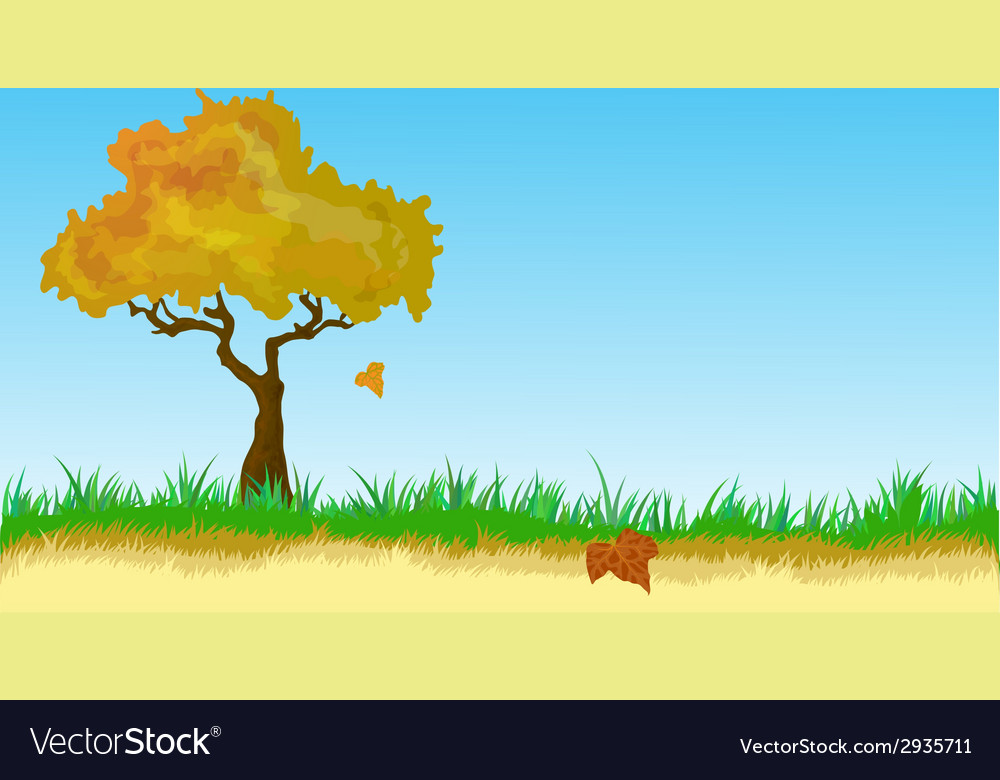 Landscape with autumn leaves vector | Price: 1 Credit (USD $1)