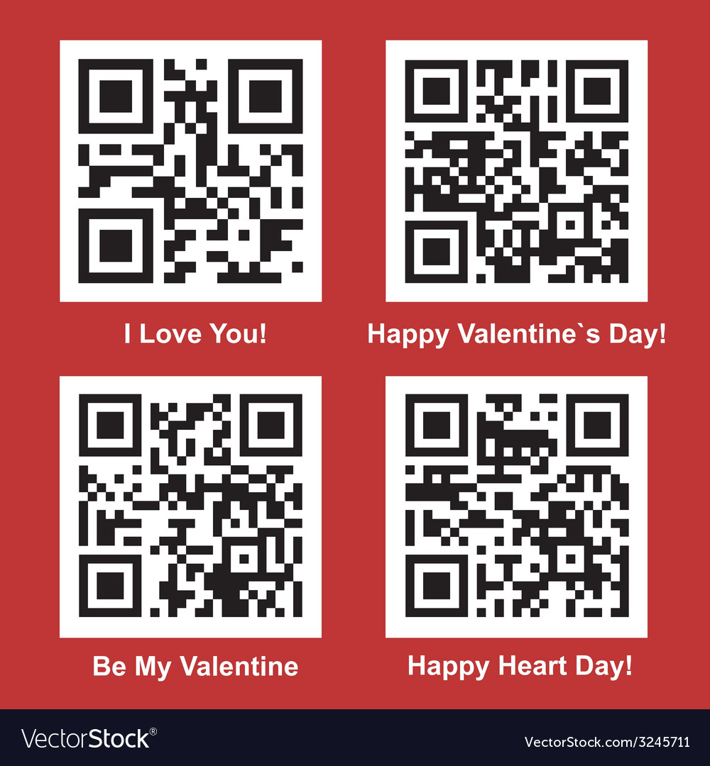 Love and valentine day readable qr codes vector | Price: 1 Credit (USD $1)