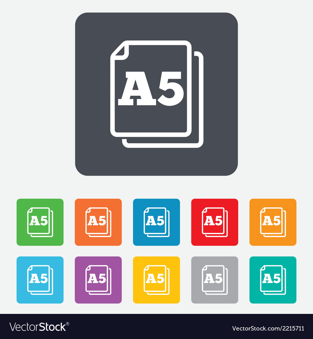 Paper size a5 standard icon document symbol vector | Price: 1 Credit (USD $1)