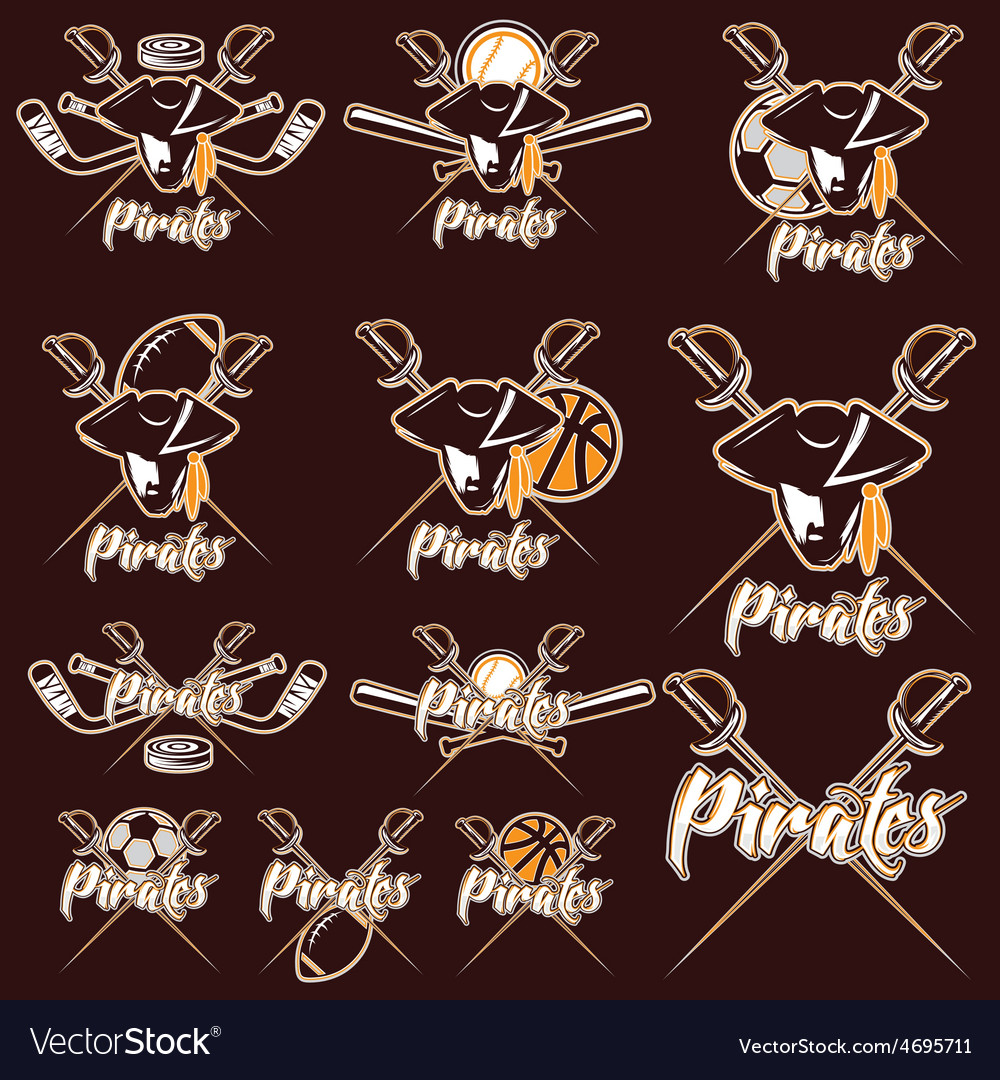 Pirates sport teams labels set vector | Price: 1 Credit (USD $1)