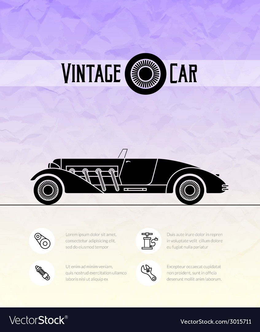 Retro cabriolet sport car vintage outline style vector | Price: 1 Credit (USD $1)