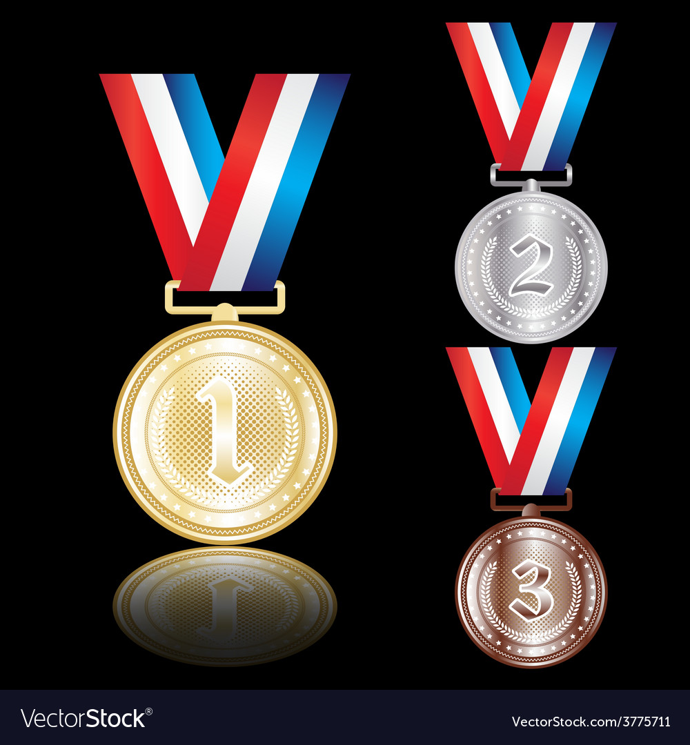Set of the gold silver and bronze medals vector | Price: 1 Credit (USD $1)