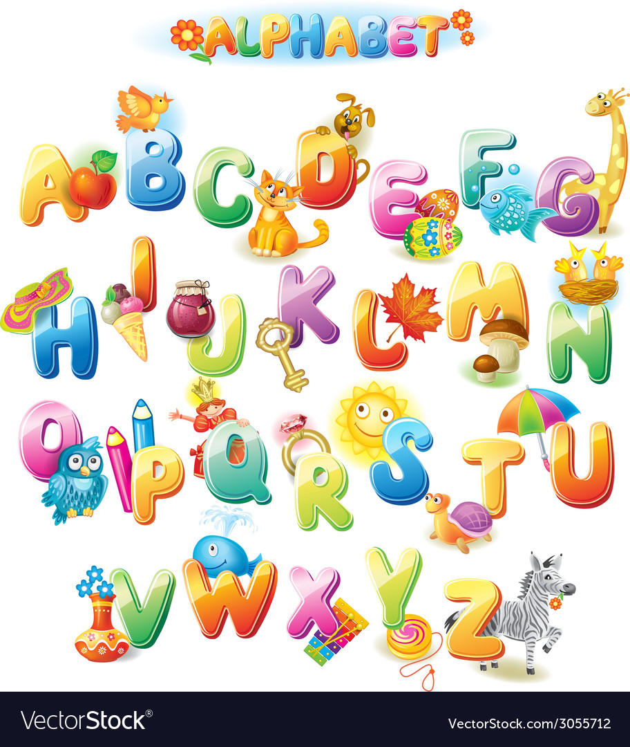 Alphabet for kids with pictures vector | Price: 1 Credit (USD $1)