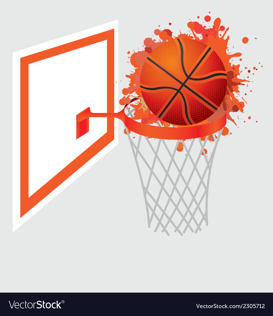 Basketball ball in basket vector | Price: 1 Credit (USD $1)