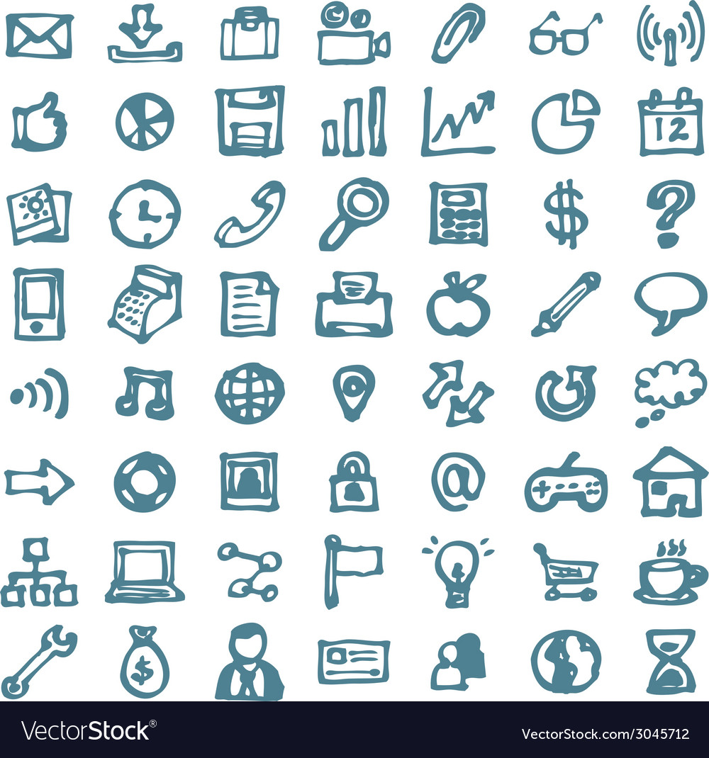 Blue business hand drawn doodles highligher icons vector | Price: 1 Credit (USD $1)