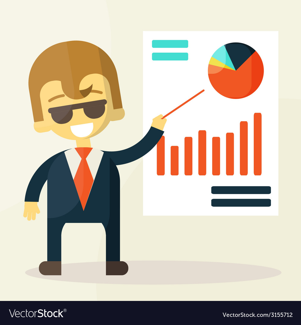 Businessman looking at the graph vector | Price: 1 Credit (USD $1)