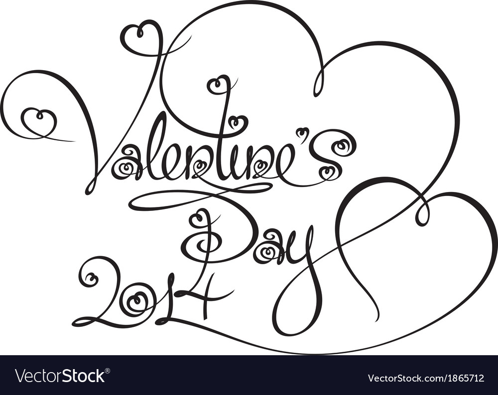 Caligraphic text valentines day 2014 vector | Price: 1 Credit (USD $1)