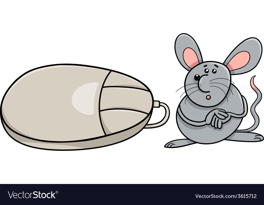 Computer mouse and real rodent cartoon vector | Price: 1 Credit (USD $1)