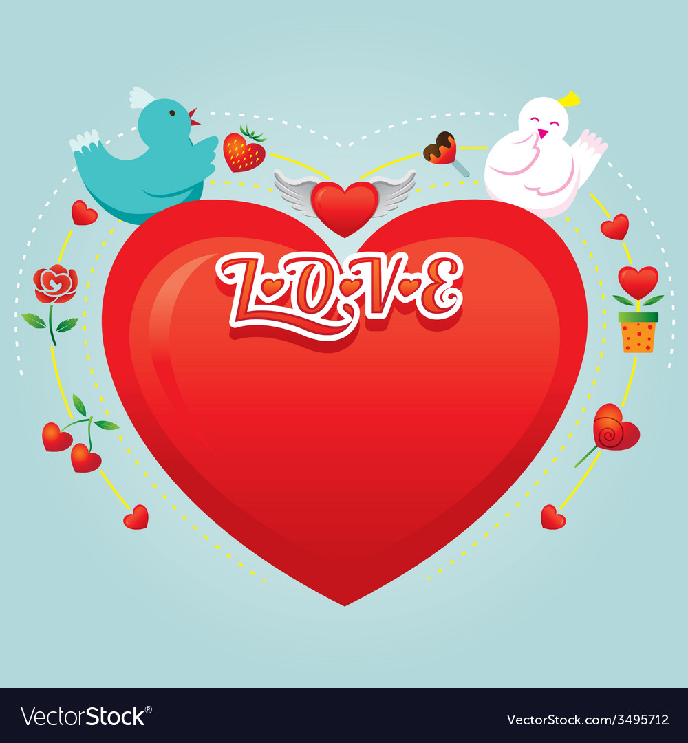 Couple birds with heart shape vector | Price: 1 Credit (USD $1)