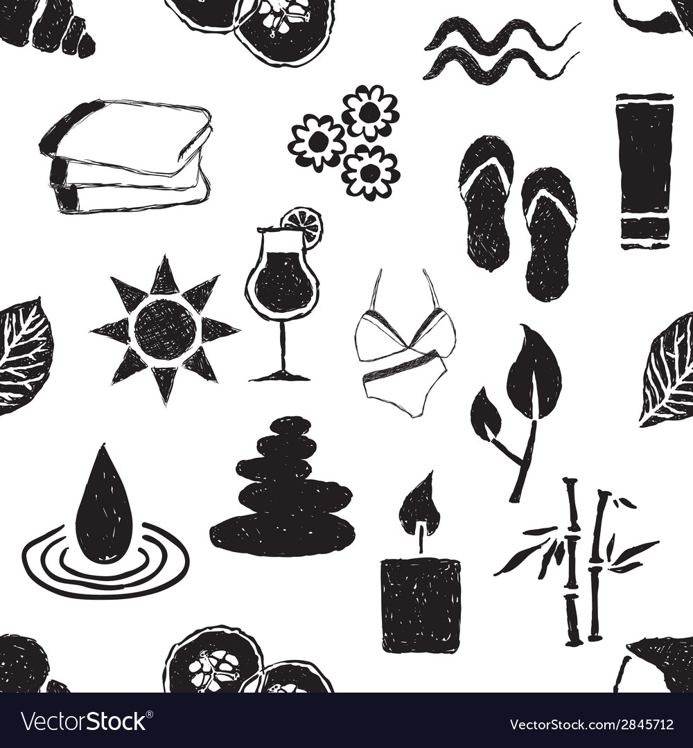 Doodle spa seamless pattern vector   Price: 1 Credit (USD $1)