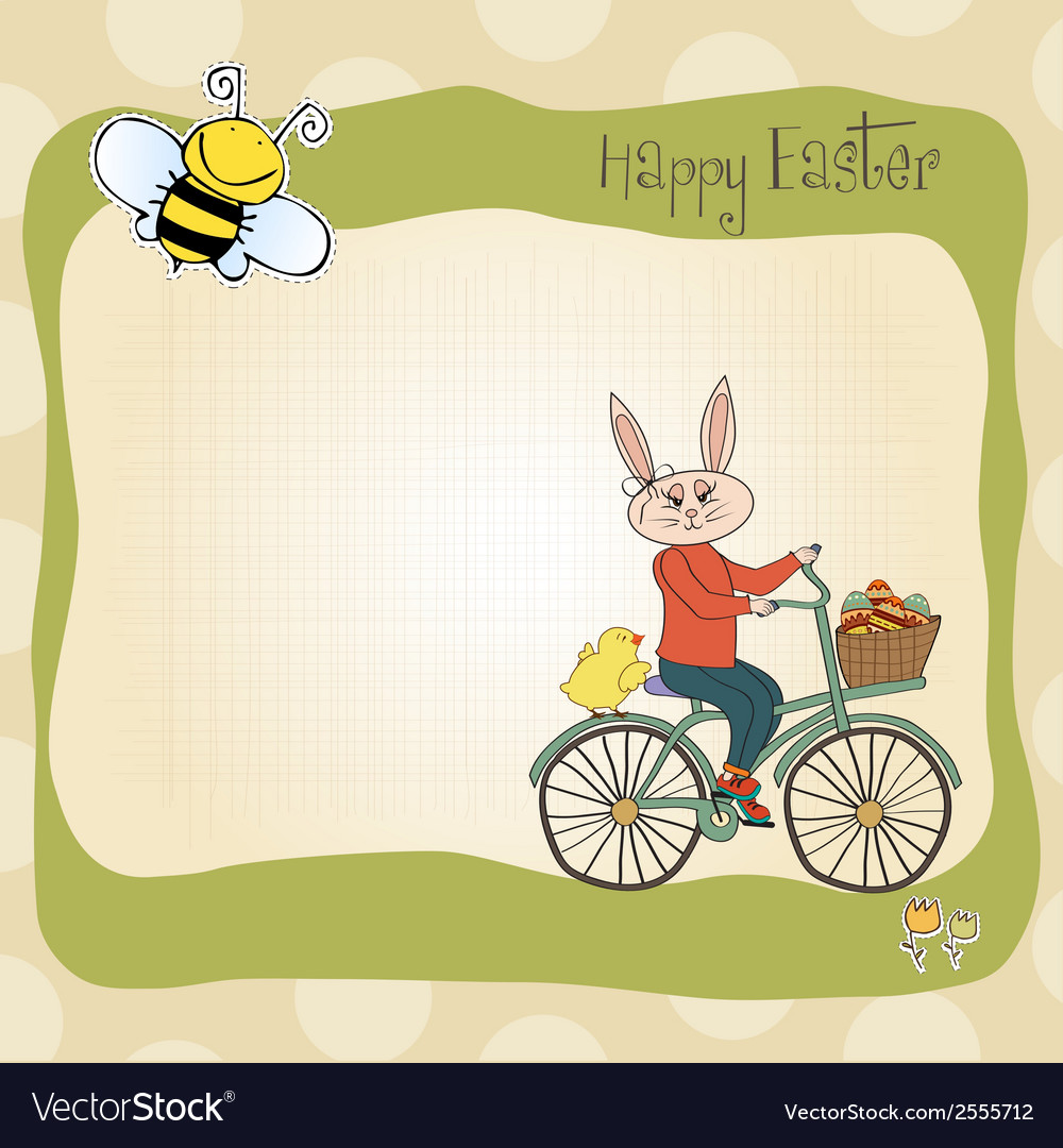 Easter bunny with a basket of easter eggs vector | Price: 1 Credit (USD $1)