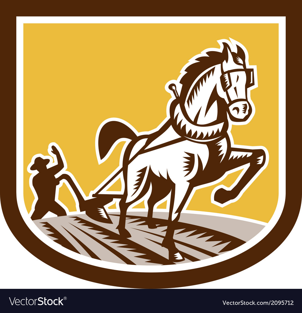 Farmer and horse plow farm crest woodcut retro vector | Price: 1 Credit (USD $1)