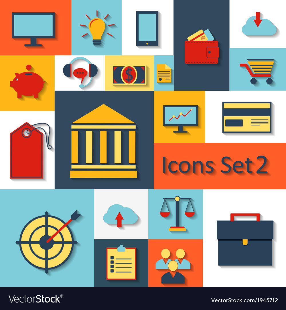 Flat set of modern icons vector   Price: 1 Credit (USD $1)