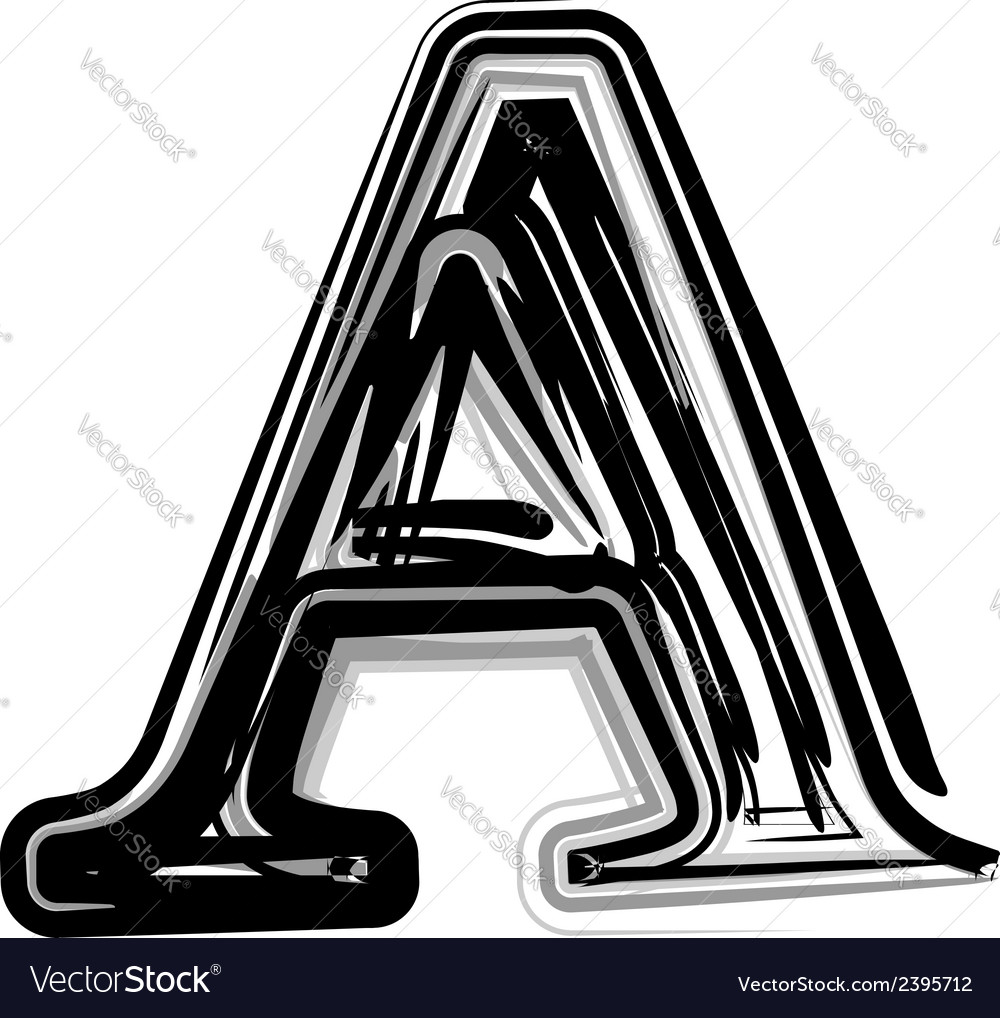 Freehand typography letter a vector | Price: 1 Credit (USD $1)
