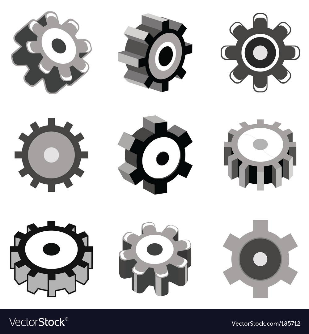 Gear wheel icons vector | Price: 1 Credit (USD $1)