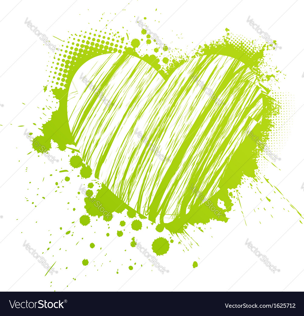 Green grunge heart vector | Price: 1 Credit (USD $1)