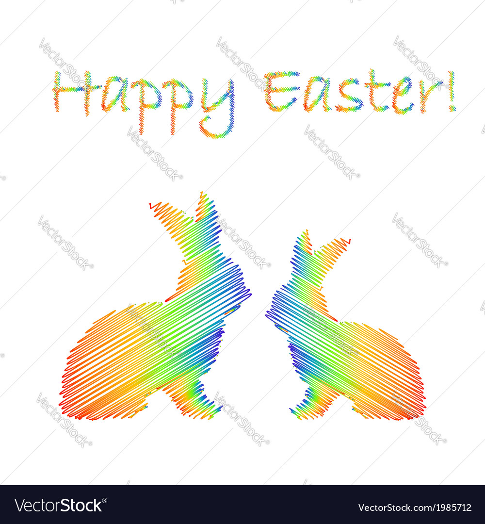 Multicolor silhouette of two easter bunny rabbits vector | Price: 1 Credit (USD $1)