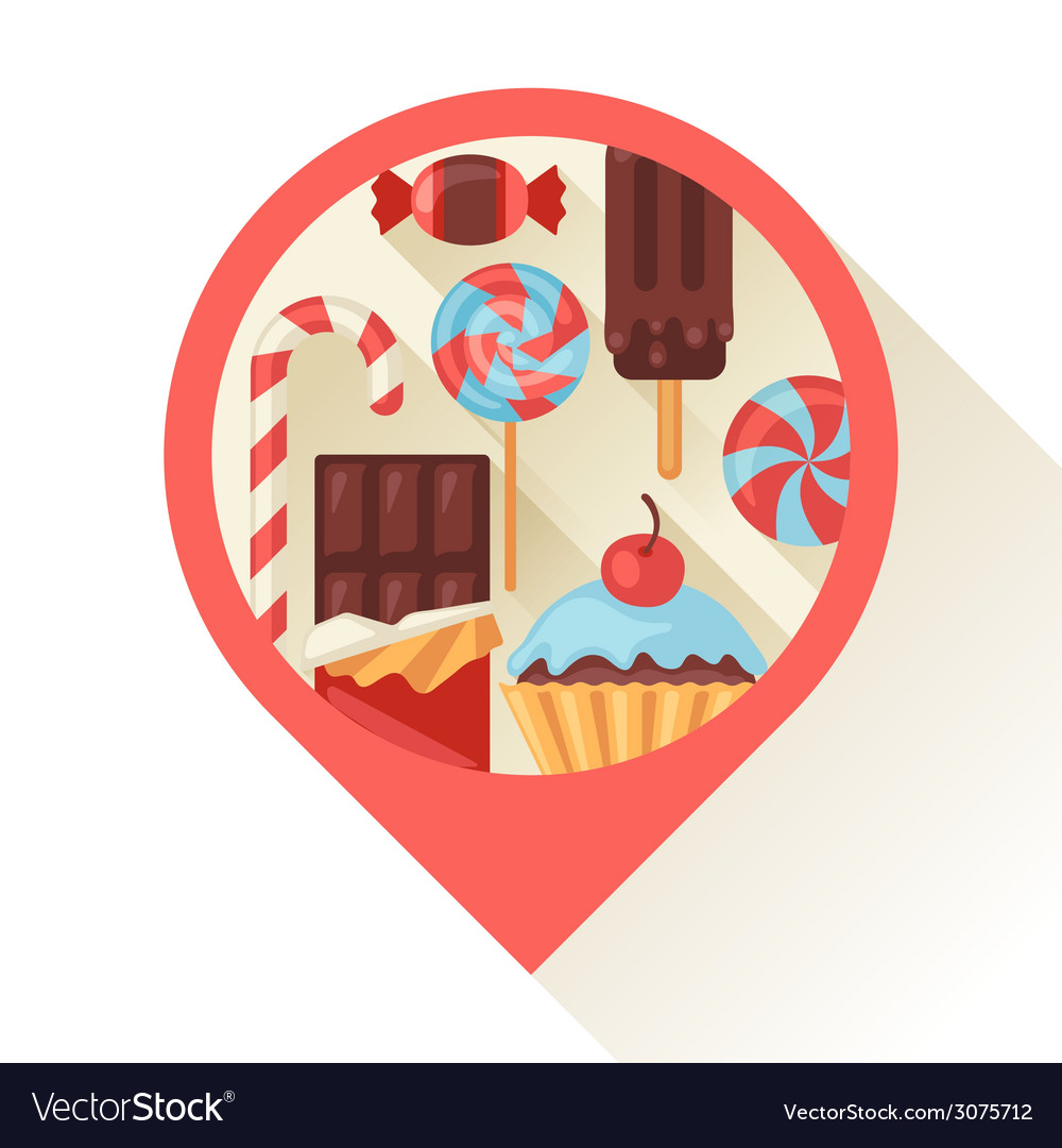 Navigation marker with colorful candy sweets and vector | Price: 1 Credit (USD $1)