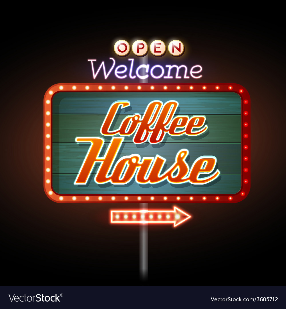 Neon sign coffee house vector | Price: 1 Credit (USD $1)