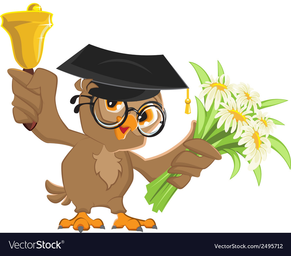 Owl teacher rings the bell and holding flowers vector | Price: 1 Credit (USD $1)