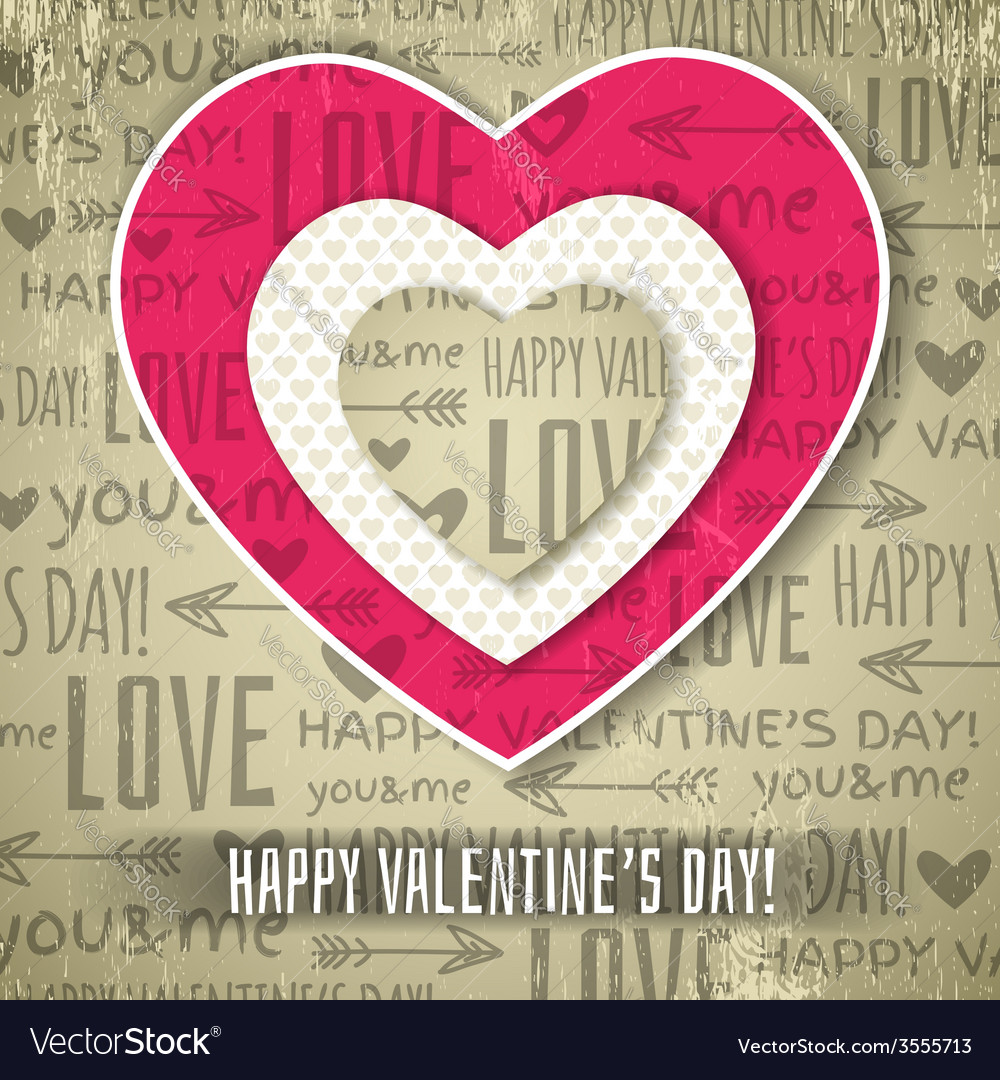 Beige background with red valentine heart vector | Price: 1 Credit (USD $1)