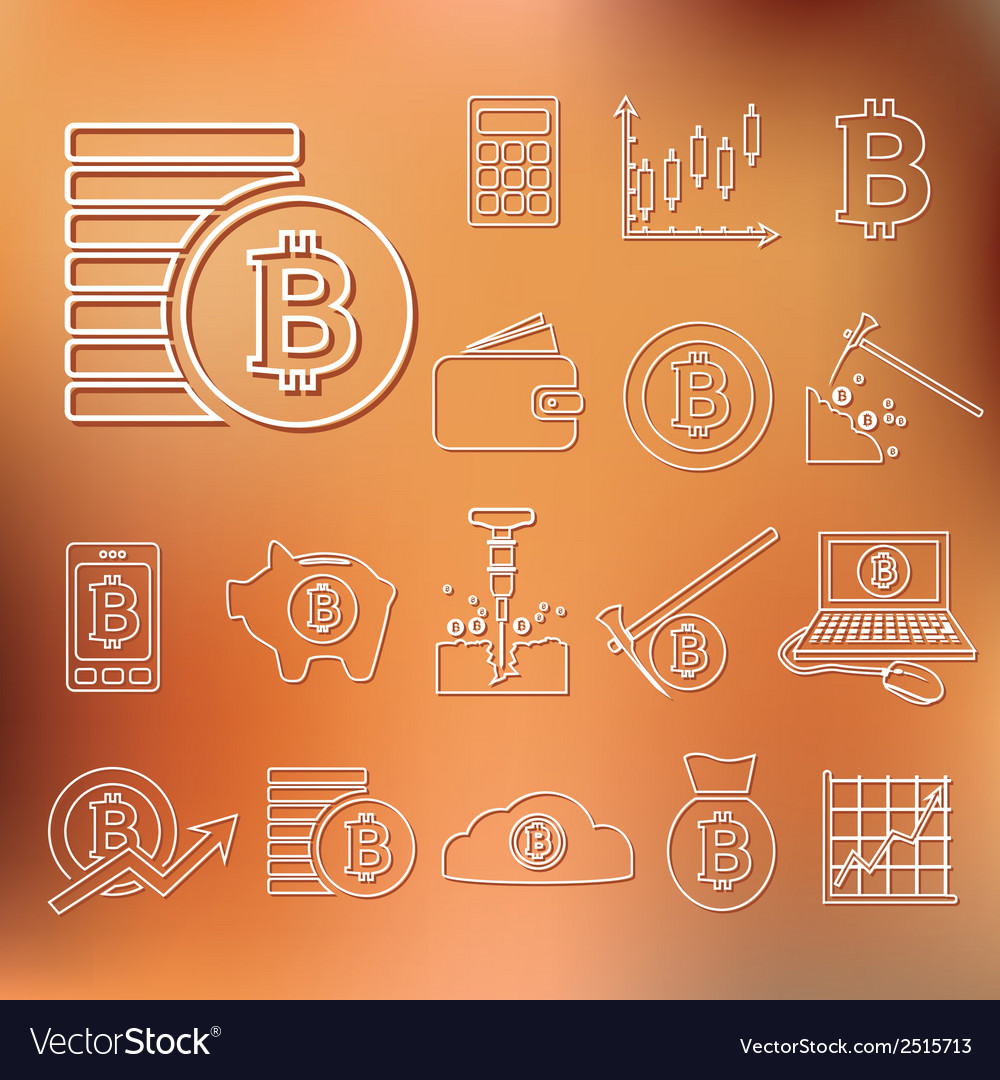 Bitcoin outline icons vector | Price: 1 Credit (USD $1)