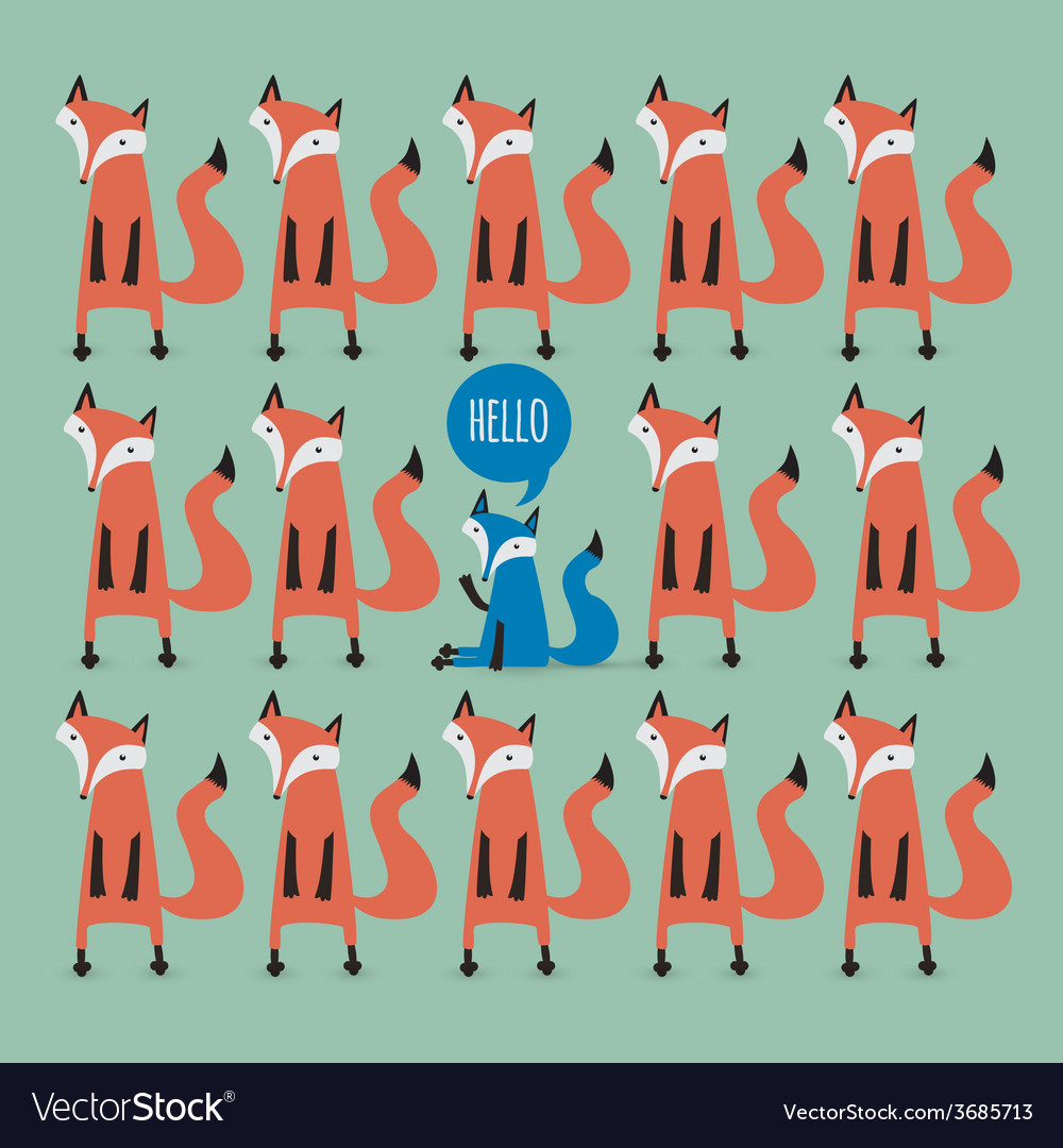 Card with foxes be unique vector | Price: 1 Credit (USD $1)