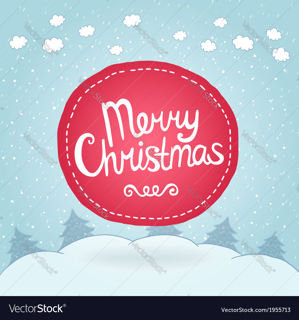 Christmas card holiday background with badge vector | Price: 1 Credit (USD $1)