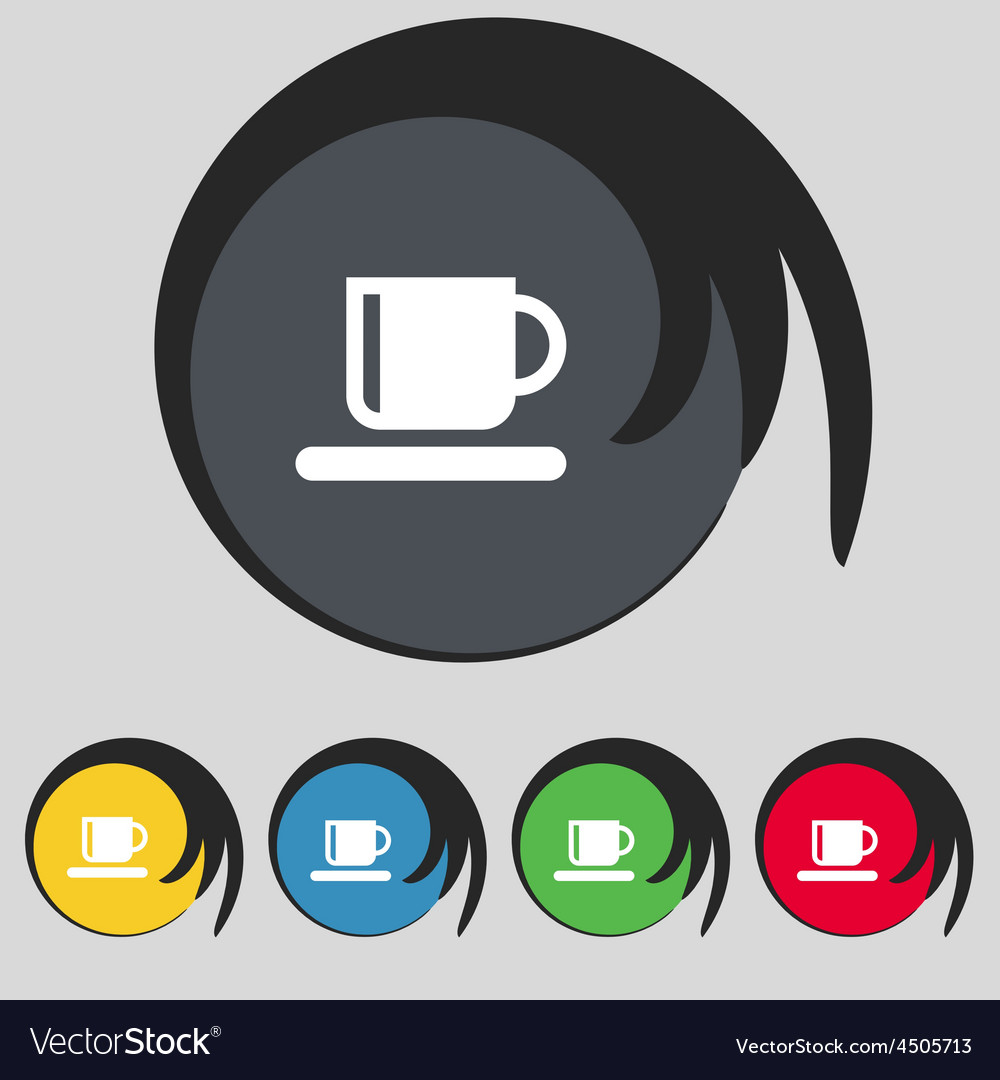 Coffee cup icon sign symbol on five colored vector | Price: 1 Credit (USD $1)