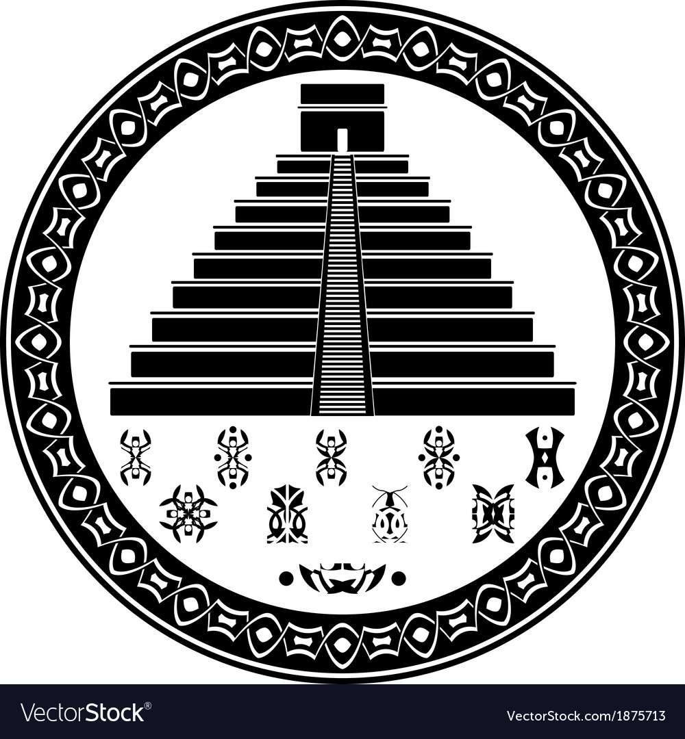 Mayan pyramid and fantasy symbols vector | Price: 1 Credit (USD $1)