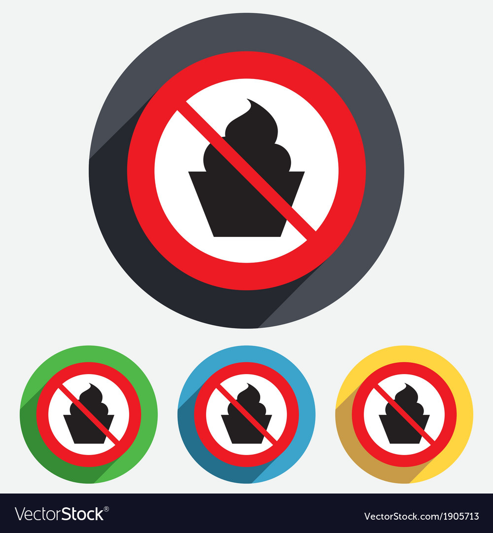 No food muffin sign icon sweet cake symbol vector | Price: 1 Credit (USD $1)