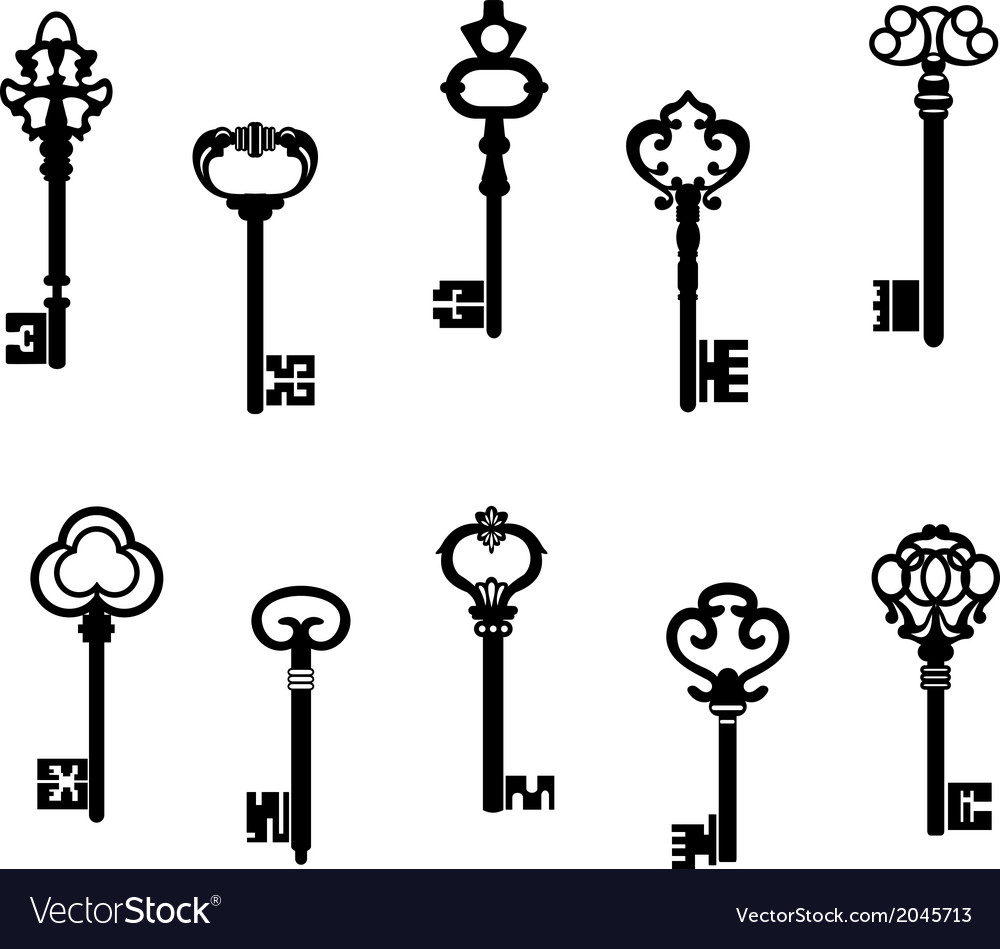 Old antique keys vector | Price: 1 Credit (USD $1)