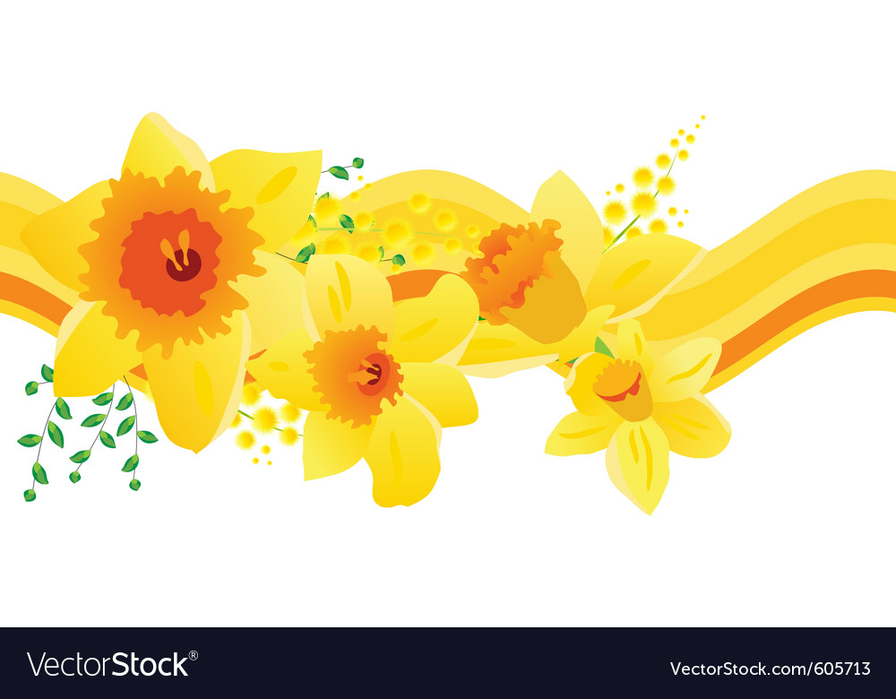 Seamless pattern with daffodils vector | Price: 1 Credit (USD $1)