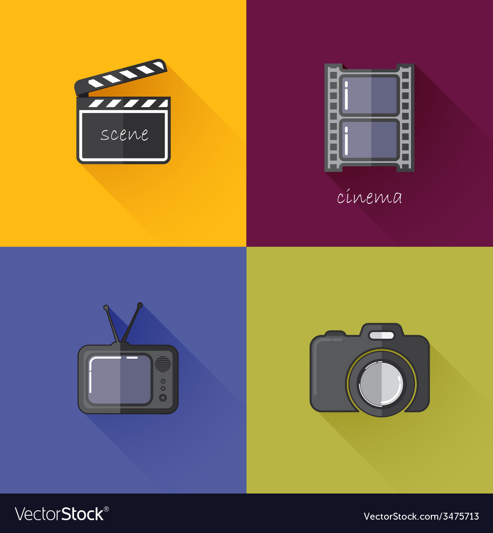 Set of concept icons for media industry camera tv vector | Price: 1 Credit (USD $1)