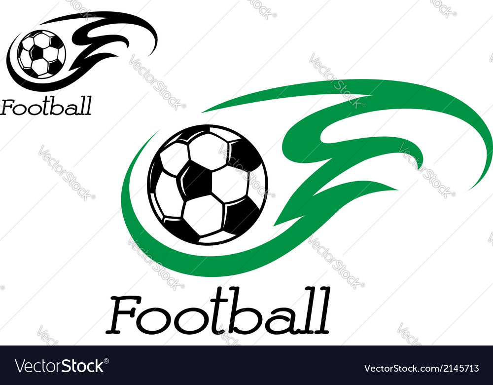Soccer ball with green flame vector | Price: 1 Credit (USD $1)