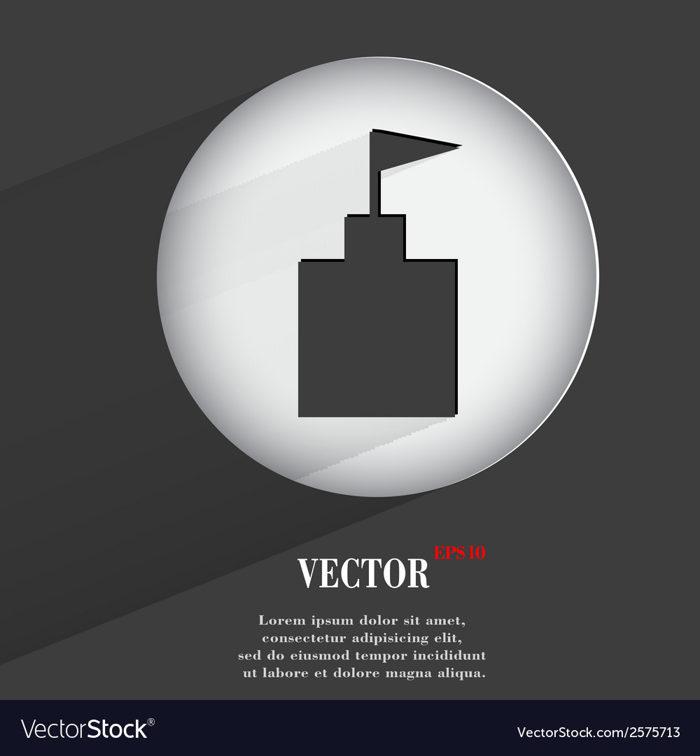 Tower flat modern web button with long shadow and vector | Price: 1 Credit (USD $1)