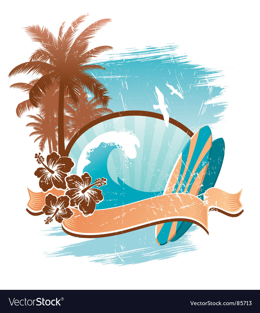 Vintage surfing emblem vector | Price: 1 Credit (USD $1)