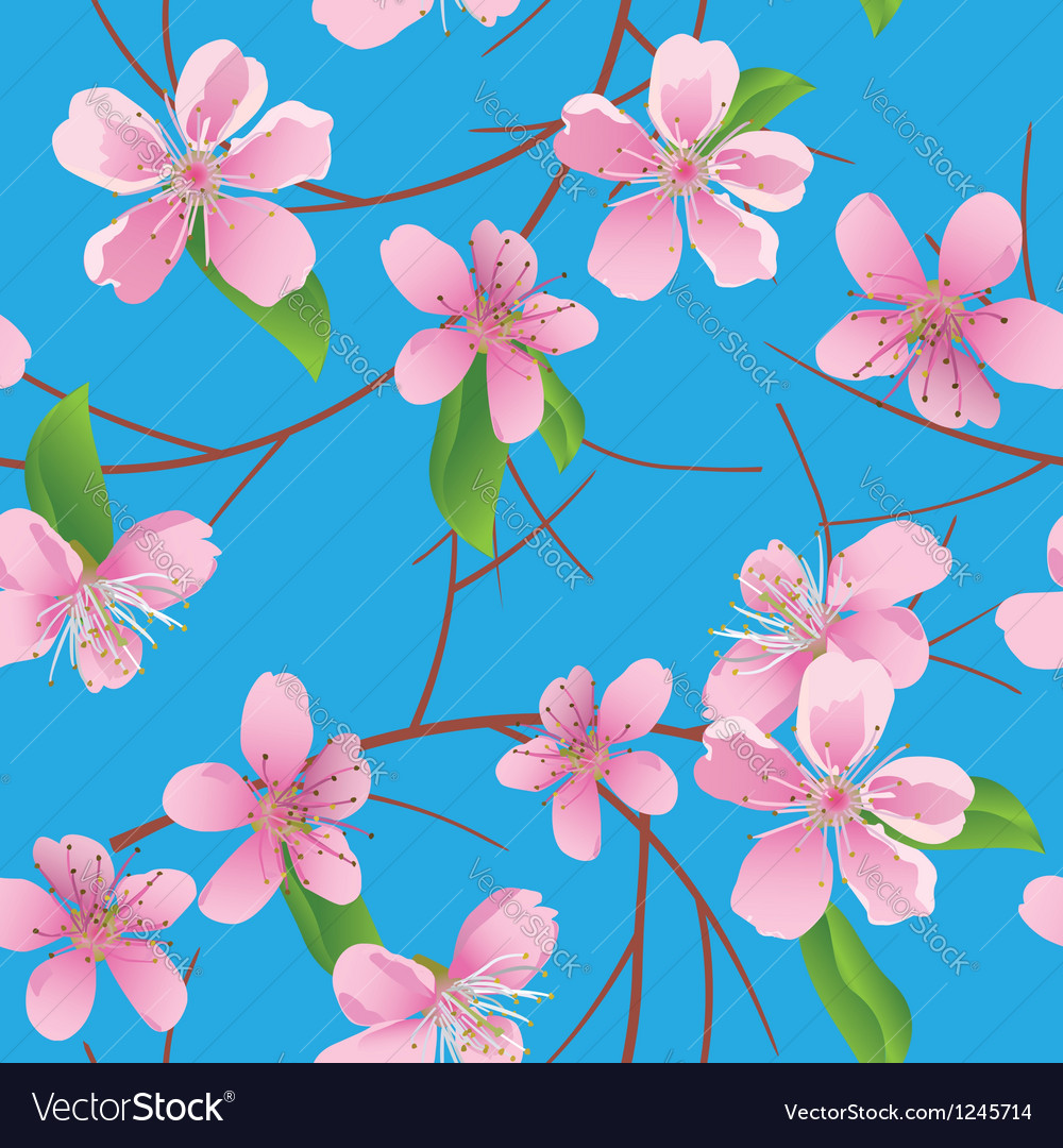 Blue pattern with peach flowers vector | Price: 1 Credit (USD $1)