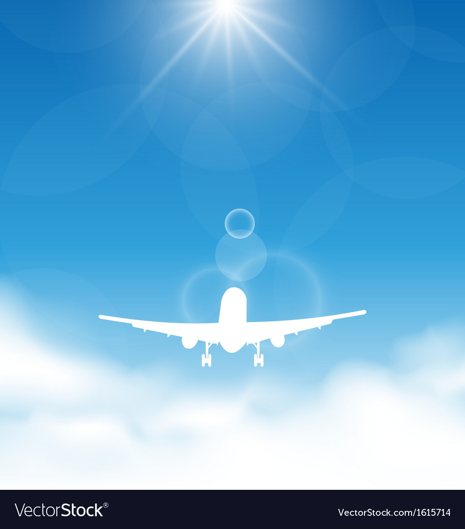 Blue sky and clouds with flying airplane vector | Price: 1 Credit (USD $1)