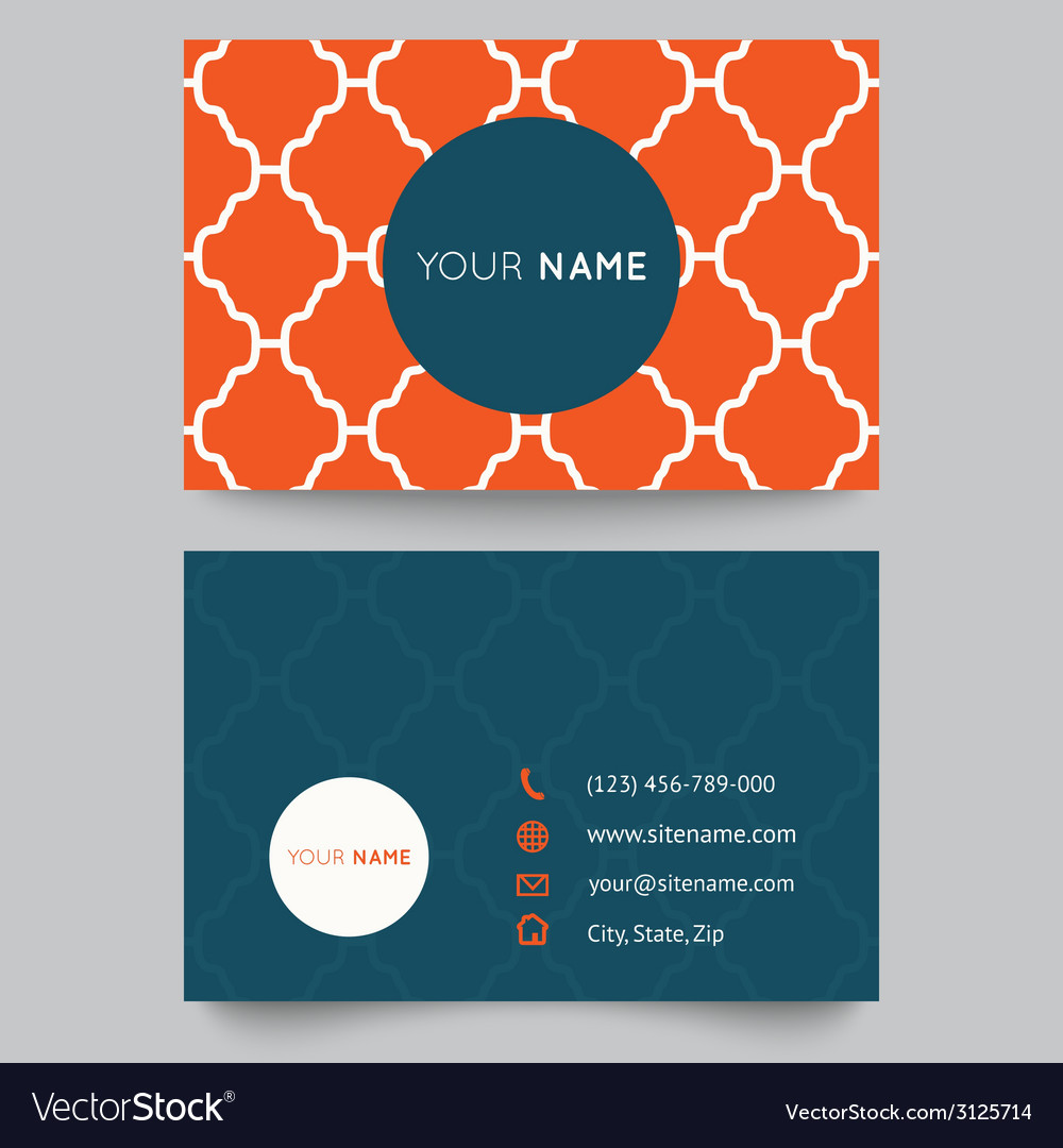 Business card template orange and white pattern vector | Price: 1 Credit (USD $1)