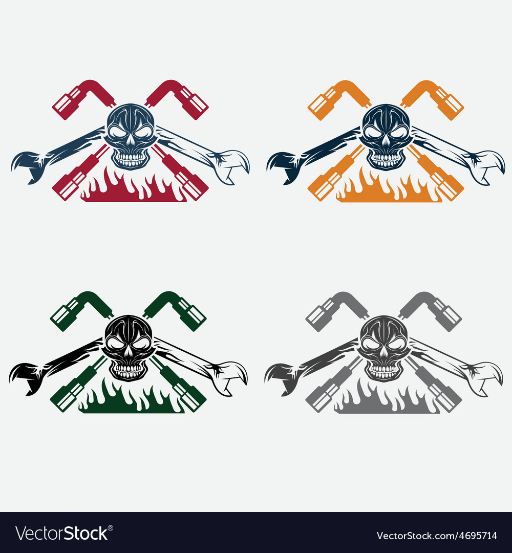 Crest with skullflame and spanners vector | Price: 1 Credit (USD $1)