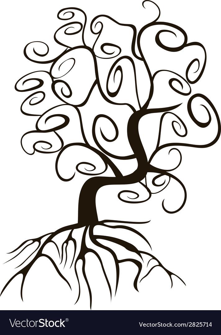 Doodle style swirl tree vector | Price: 1 Credit (USD $1)