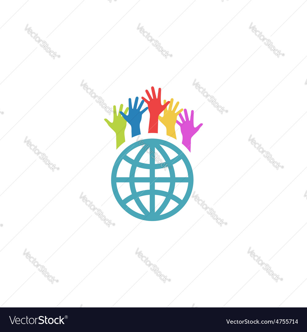 Globe and colorful hands up mockup volunteer vector | Price: 1 Credit (USD $1)